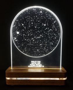 two glowing led star charts on a stand